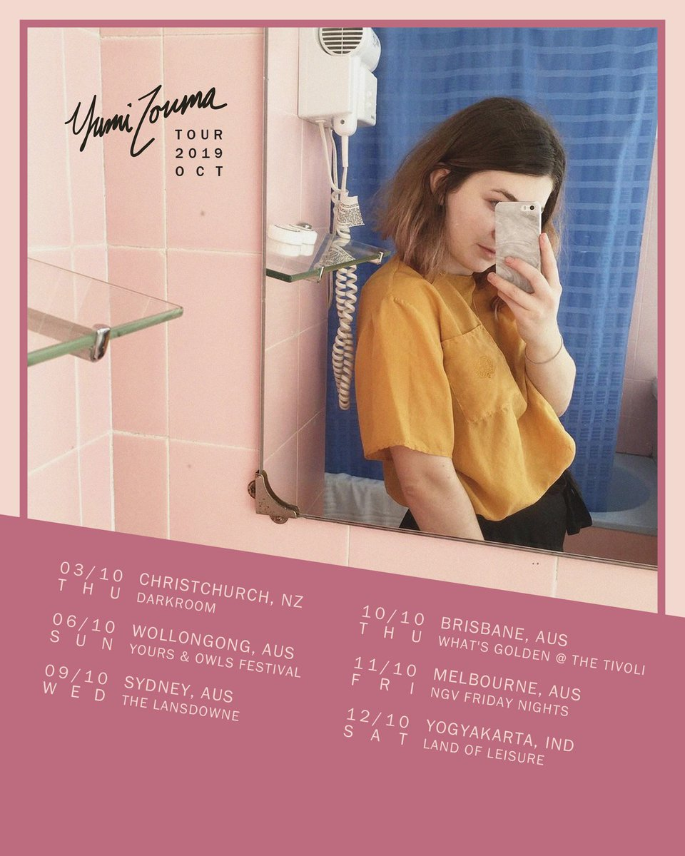 TOUR ANNOUNCEMENT: We're kicking off our October run in Australia  with a hometown show in Christchurch, and wrapping things up at Land of Leisure in Indonesia!   Tickets on sale tomorrow at 10am local venue time at  http:// yumizouma.com    <br>http://pic.twitter.com/m40XbS4lZ4
