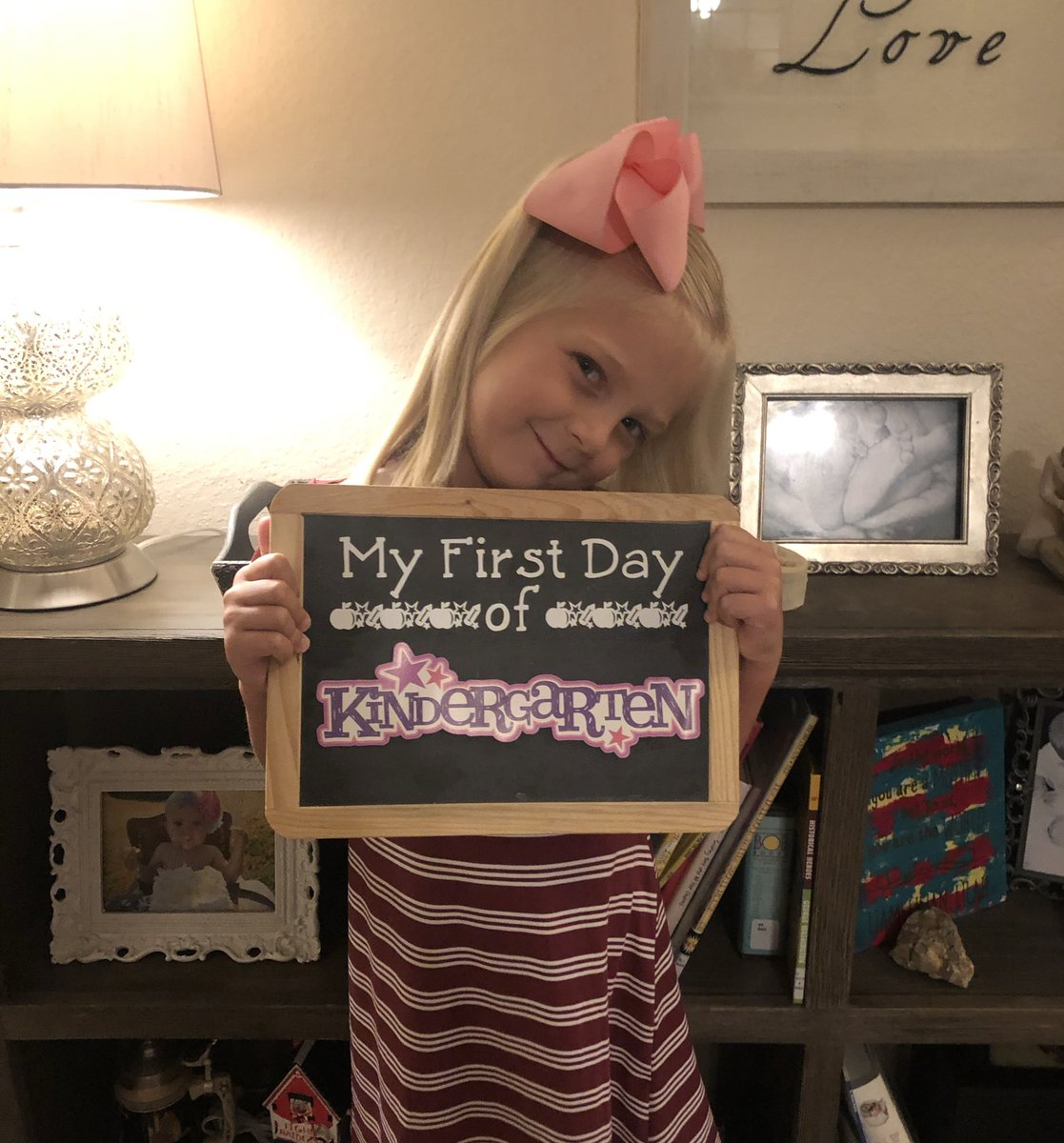 She decided to be fashionably late his year- First day of Kindergarten! #GESshineon #back2GCISD #WeAreGCISD