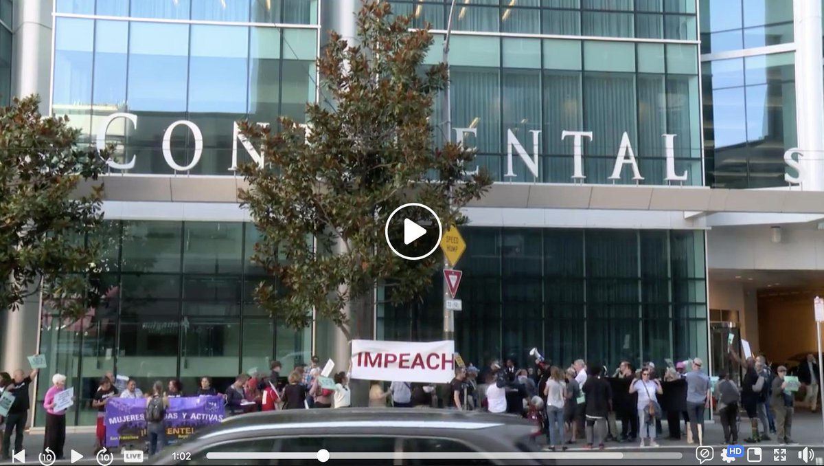 "BREAKING: #WeCantWait Impeachment protest outside  the San Francisco Democratic Party's ""Heart of the Resistance"" dinner where @SpeakerPelosi is receiving a lifetime achievement award.  WATCH:  https://www. facebook.com/CREDO/videos/1 111096492414714/   … <br>http://pic.twitter.com/wUWGBBqxCL"