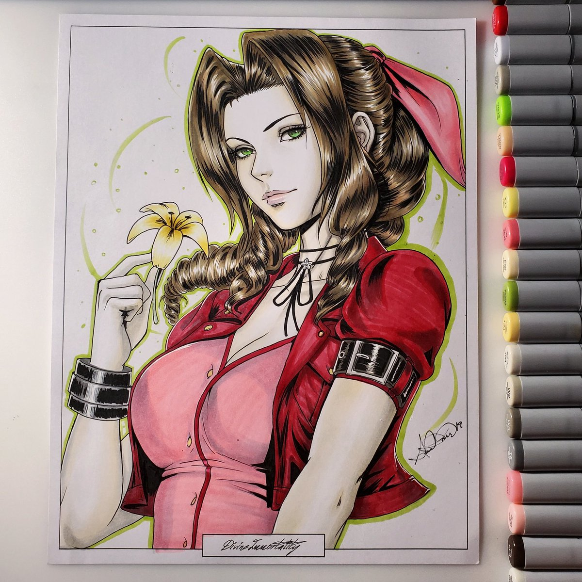 All done! Practice illustration of #Aerith from#finalfantasy7 with copics ❤ I hope you guys like it! #FF7R #FF7Remake #ff7 #FinalFantasyVII #FinalFantasyVIIRemake #aerith