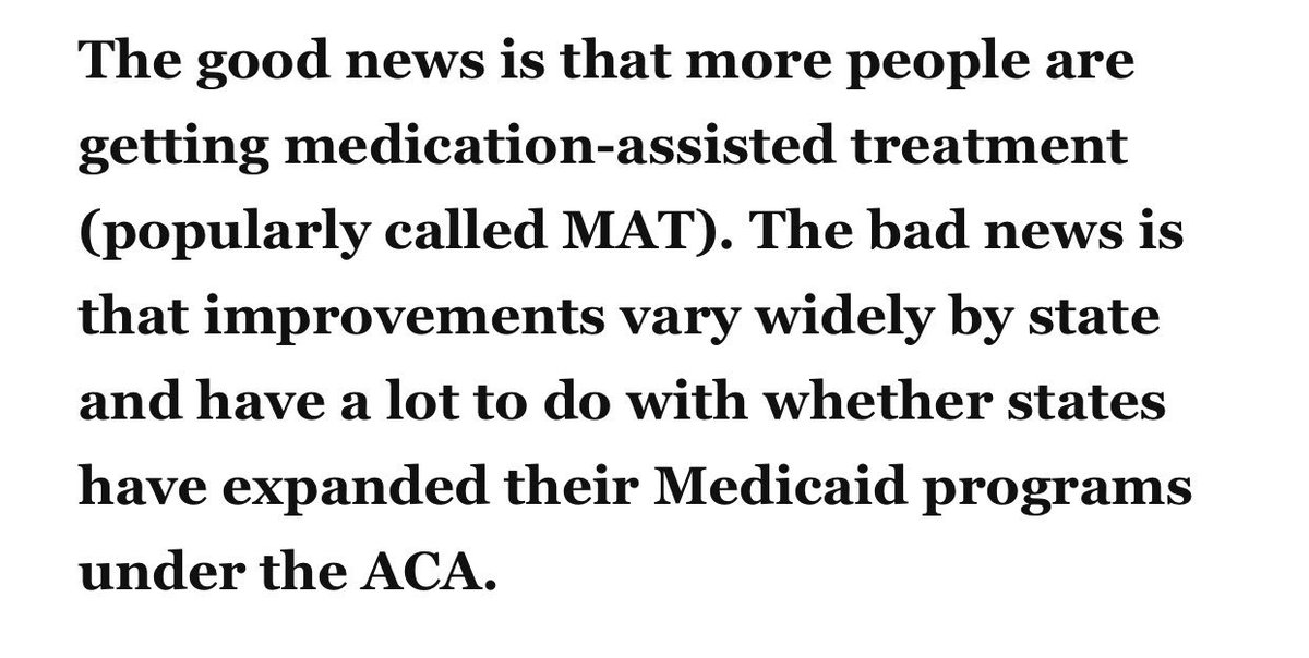 """""""The bad news is improvements in opioid addiction treatment vary widely by state and have a lot to do with whether states have expanded Medicaid""""   @GovBillLee @CSexton25 #NOEXCUSES <br>http://pic.twitter.com/0NHdP6lzUQ"""