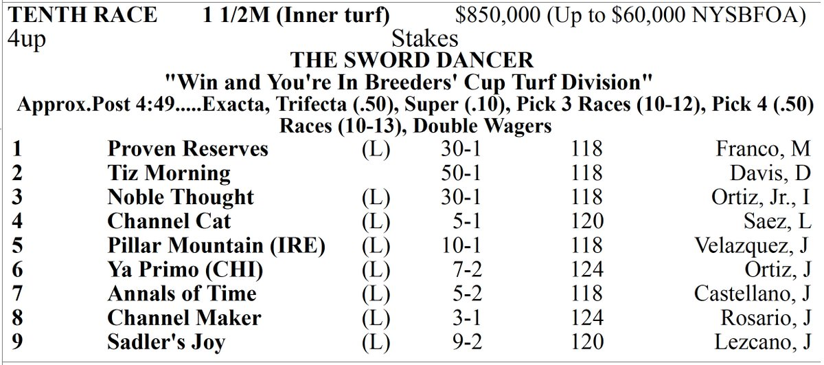 Race 10, The Sword Dancer (G1)
