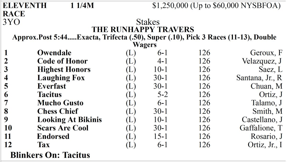 Race 11, The Travers (G1)
