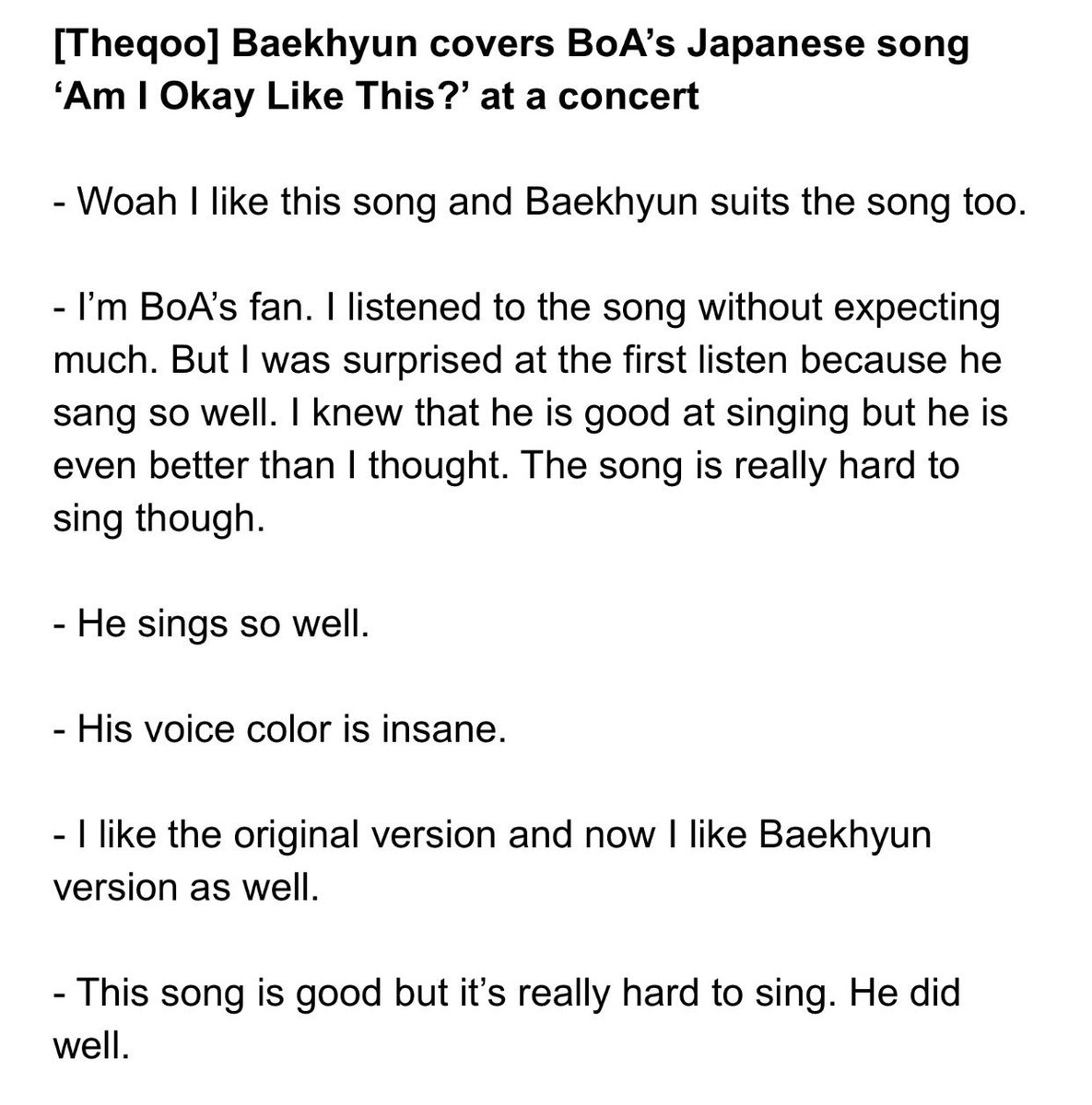 ʙʜ On Twitter Theqoo Baekhyun Covers Boa S Japanese Song Am I Okay Like This At A Concert B Hundred Hyun