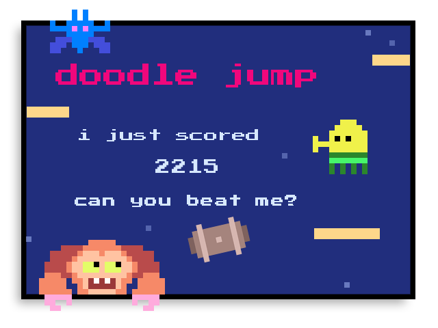 I just scored 2,215 on doodle jump! for android: https://t.co/VcyYSPBqhs for ios: https://t.co/ukk435YGOo for wp8+: https://t.co/mFRZFsy8nT https://t.co/aVQl1DfHMM