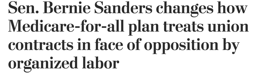 .@washingtonpost: You asked for an on-the-record comment on this bogus headline. Well, here it goes: Bullshit. Bernie wrote the damn bill & didn't amend it. We're proud of the union support for #MedicareForAll. When it passes they will receive higher wages and benefits - period.