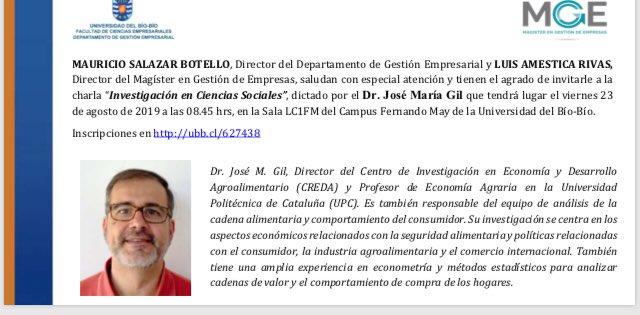 Charla de Dr. José Maria Gil Departamento de Gestión Empresarial @DusanParedes @asfaceubb @BenitoUmana @alvaroacuna01 @csalazar_ubb @economiaUBB https://t.co/lSVgUmM1HP