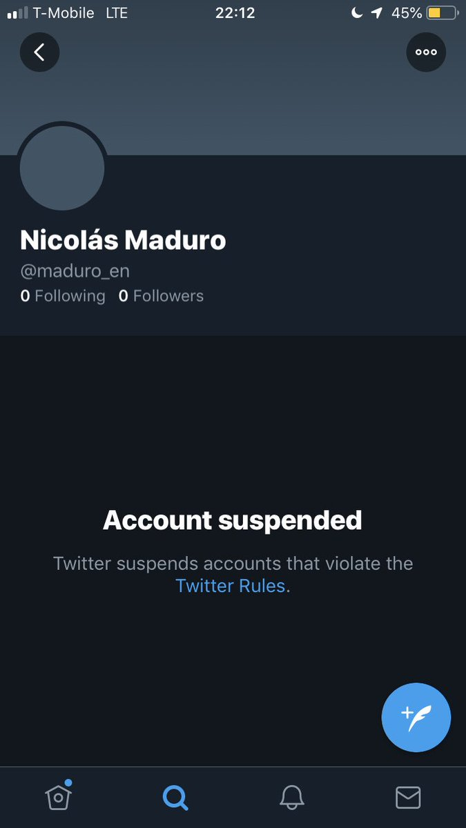 In a blatant act of censorship, twitter suspended President Nicolás Maduro's English language account. His Spanish language one remains active. <br>http://pic.twitter.com/Qr8cnhoOFG