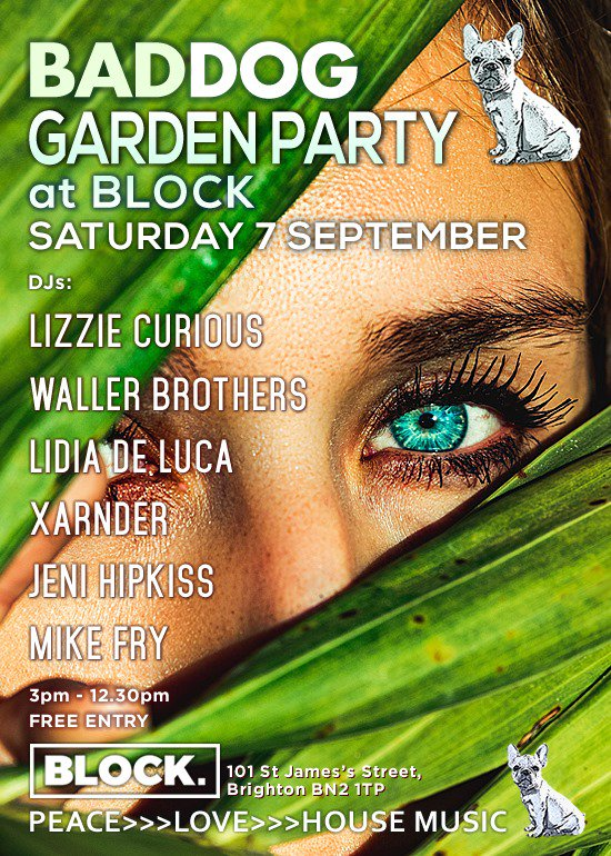 Don't miss our party at @block_bar on 7th Sep in Brighton!  Balearic beats & #housemusic in Block's garden from @LizzieCurious @JeniHipkiss @DJXarnder @LidiaDeLuca @DjTonyWaller & more  #brighton<br>http://pic.twitter.com/11qU4jmzUt