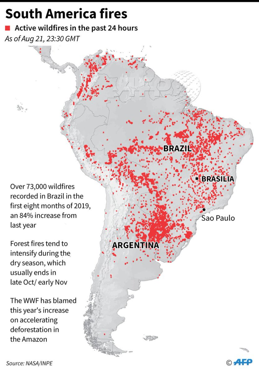 AFP map of South America, showing wildfires, active in the past 24 hours as captured by NASA satellites as of Aug 21, 23:30 GMT(Correcting name of Sao Paulo)@AFPgraphics
