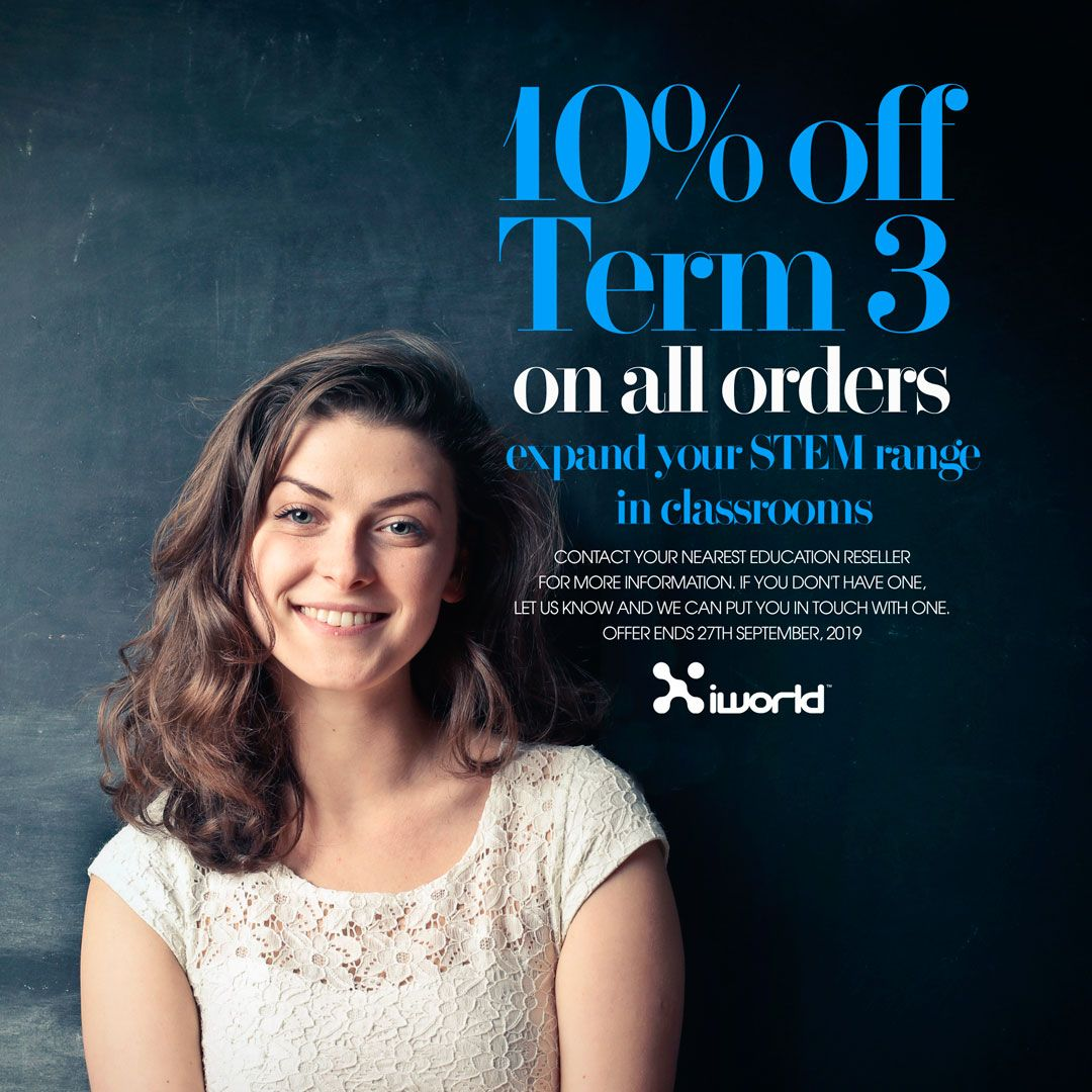 10% off Term 3 on all orders at iWorld Australia. Expand your STEAM range in classrooms. #steam #stem #education #iworldaustralia #educationsteam #educationstem https://t.co/GXzfwuW5sj https://t.co/Vx4hRn8C7u