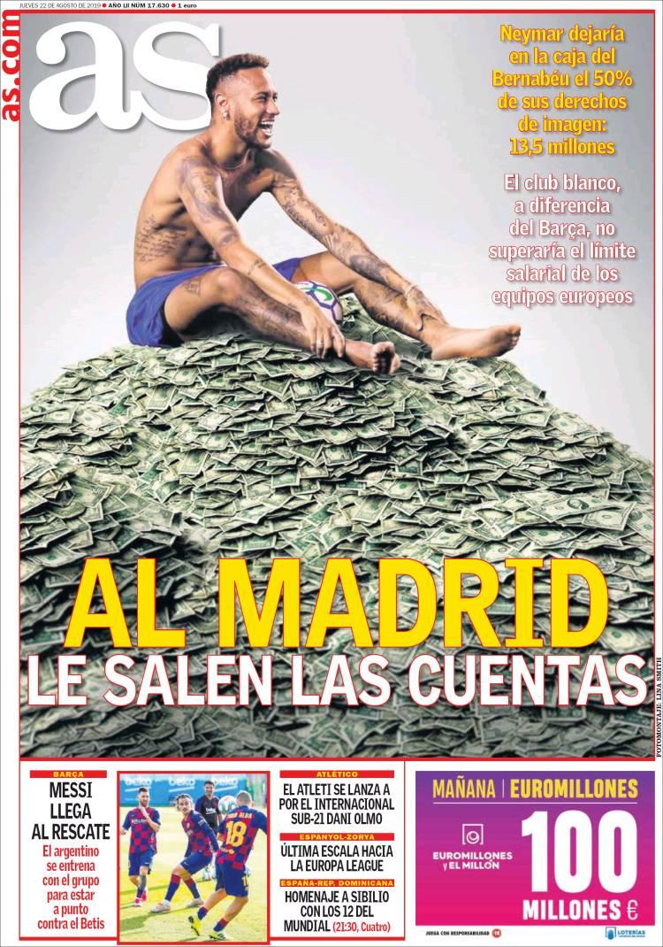 """AS: """"le compte est bon pr #RealMadrid"""" qui récupérerait 50% de ses droits d'image en restant ds le fair-play financier. Et #Neymar dirait pas non. #Mercato #Algerie #algerien #algerienne #dz #lesverts #123vivalalgerie."""