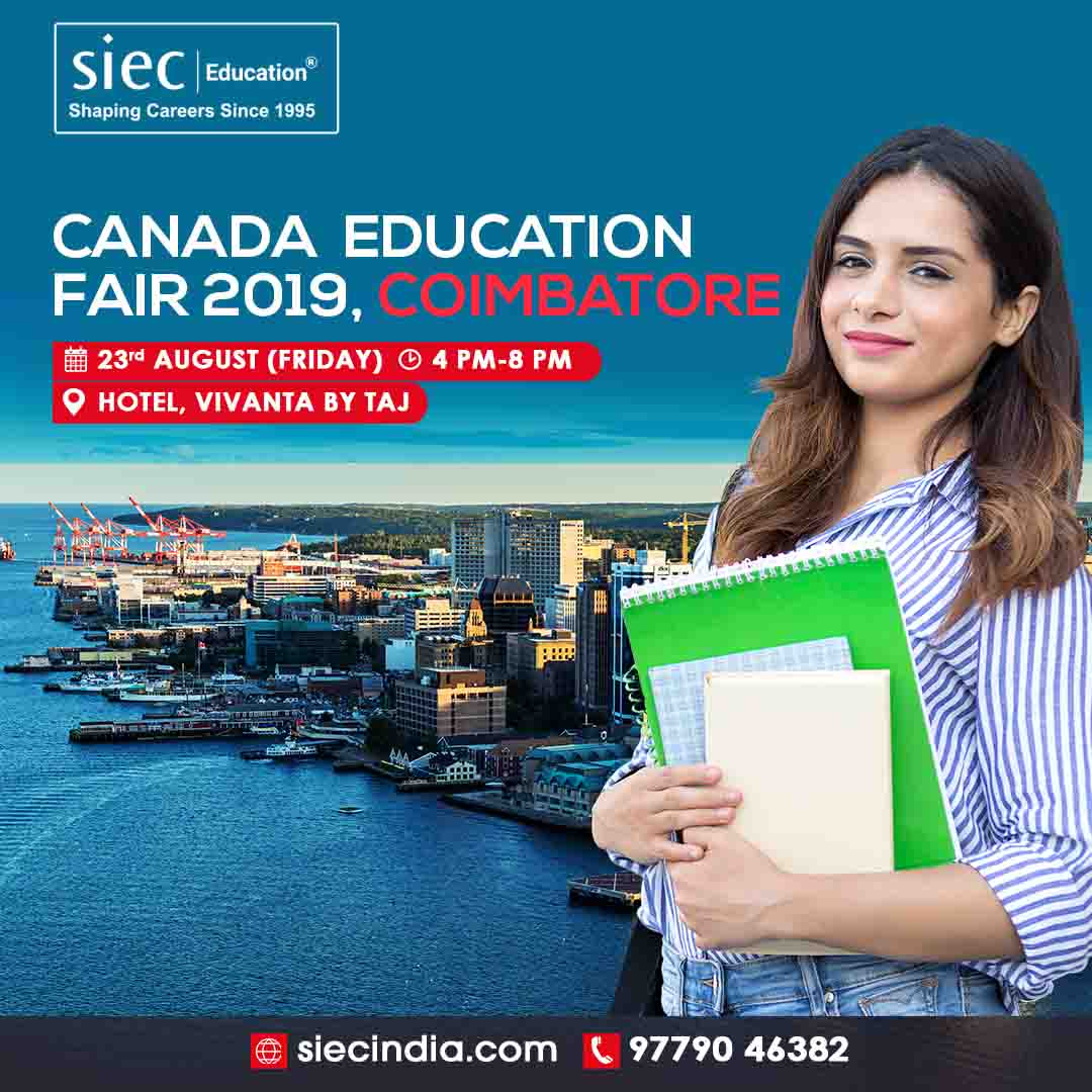 Hi Coimbatore! Attend tomorrow SIEC's Canada Education Fair in your city.  Visit: http://siecindia.com/c/a/canada-education-fair-2019.php… Call: 9779046382  Date: 23rd Aug'19 Time: 4 PM to 8 PM  #studyincanada #overseaseducation #canadastudentvisa #studyoverseas #studyabroad #educationfair #educationfair2019 pic.twitter.com/CQFjkjJ4il