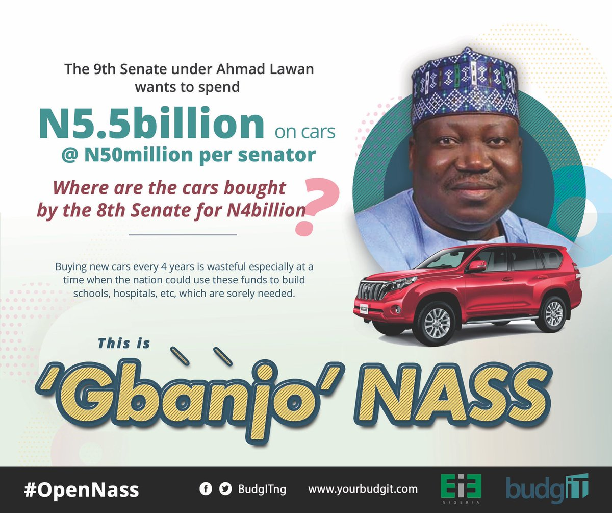 Hello @DrAhmadLawan, In a country where over 98m citizens live in 'multidimensional poverty', @NGRSenate's plan to waste N5.5billion of taxpayers money on cars for 109 (including returned) members is reckless—after #8thSenate's N4bn cars. Is this the change you promised?