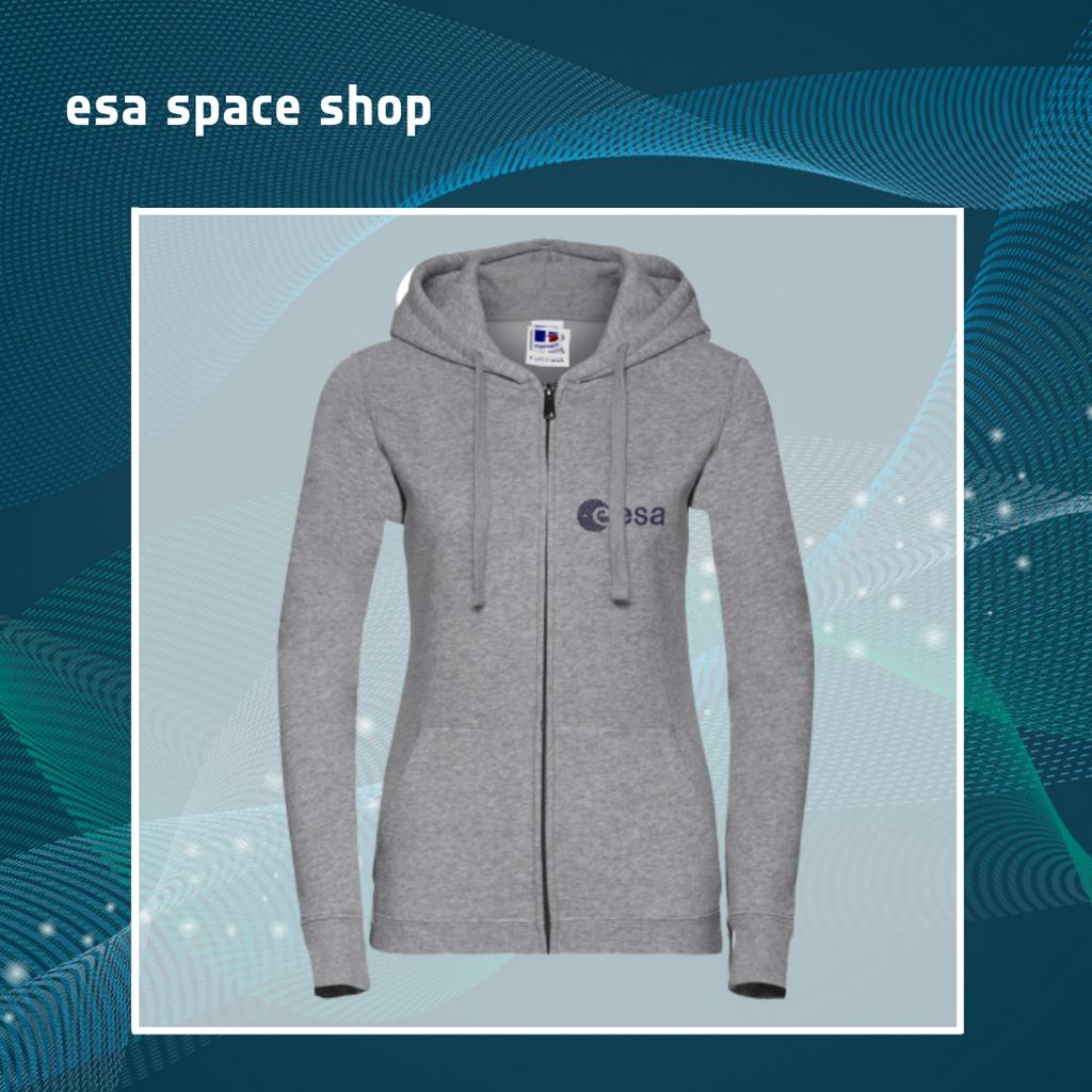 Whether youre doing your shopping, going to the gym, or just a little cold at the office, this zip-up is the perfect outerwear for any occasion. Proudly bear the ESA logo with items from the #ESASpaceShop Buy item here: bit.ly/esazipupwomen