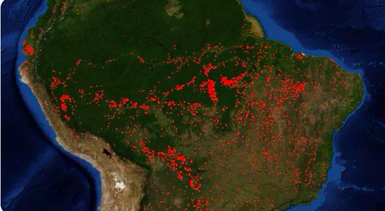 The Amazon produces 20% of the worlds oxygen and has been on fire for 17 days.