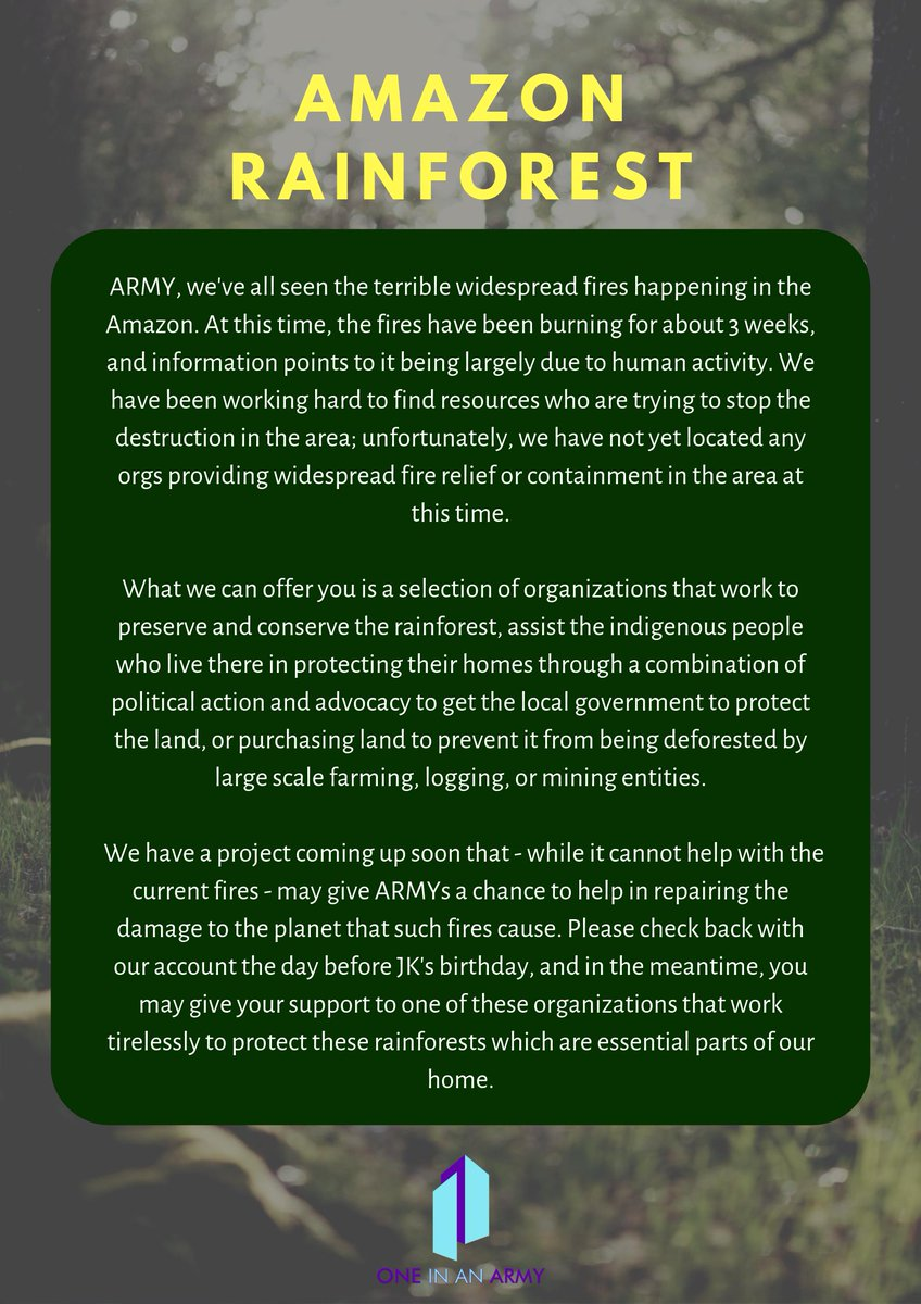 #ARMYHelpThePlanet You have all been very concerned with whats been going on in the amazons. After looking into the situation this is what we have found 👇 🔜Well be launching a project focusing on the environment and especially ecosystems in a week🌳 #ARMYPurpleEarth