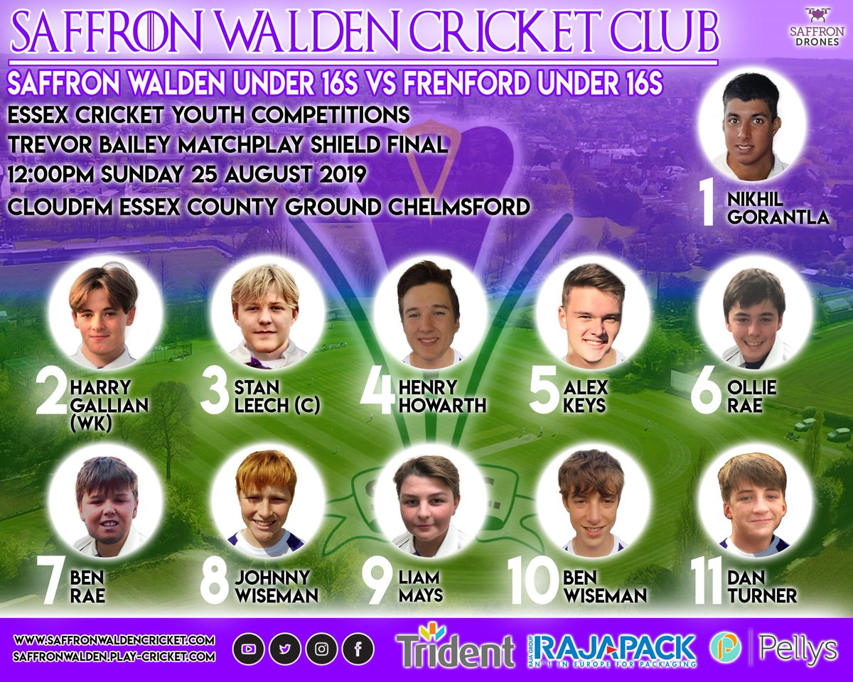 Congratulations to our U16s, who have reached the final of the Trevor Bailey Matchplay on Sunday at the CloudFM County Ground. Go well! The whole club is behind them #crocus #saffronwalden #cricket<br>http://pic.twitter.com/MiHtMFokar