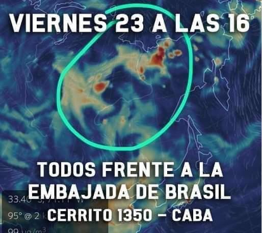 Mañana viernes (16 hs) en Buenos Aires nos movilizamos frente a la Embajada de Brasil por la catástrofe en la Amazonia. Buen momento para salir de la catarsis de las redes sociales y entrar realmente en acción. Tenés que venir.