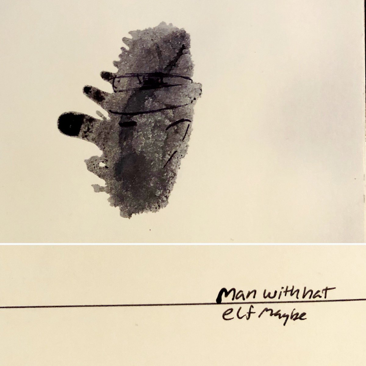 From a series of ink splat art things I made back in college & my little note. #TBT #Art #Rorschach #ElfMaybe