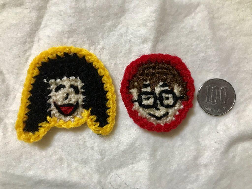 【告知】今週の土日(12〜19時)は「似顔絵バイキング」で似顔絵描き(編み)をします。見本がこちら、DPZ編集部の古賀さんと石川さんを編んでみたやつ…似てないけどこんな感じのを編みます(制作時間:ひとつ30分)