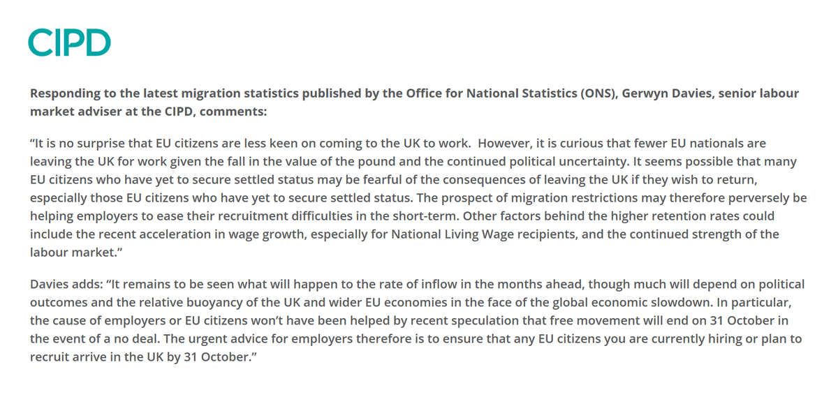 Prospect of migration restrictions perversely helping to ease tightening labour supply in the short-term @Davies_Gerwyn responds to the latest official migration statistics from @ONS for the year ending March 19. Find the full response here 👉 bit.ly/ONSAugust19