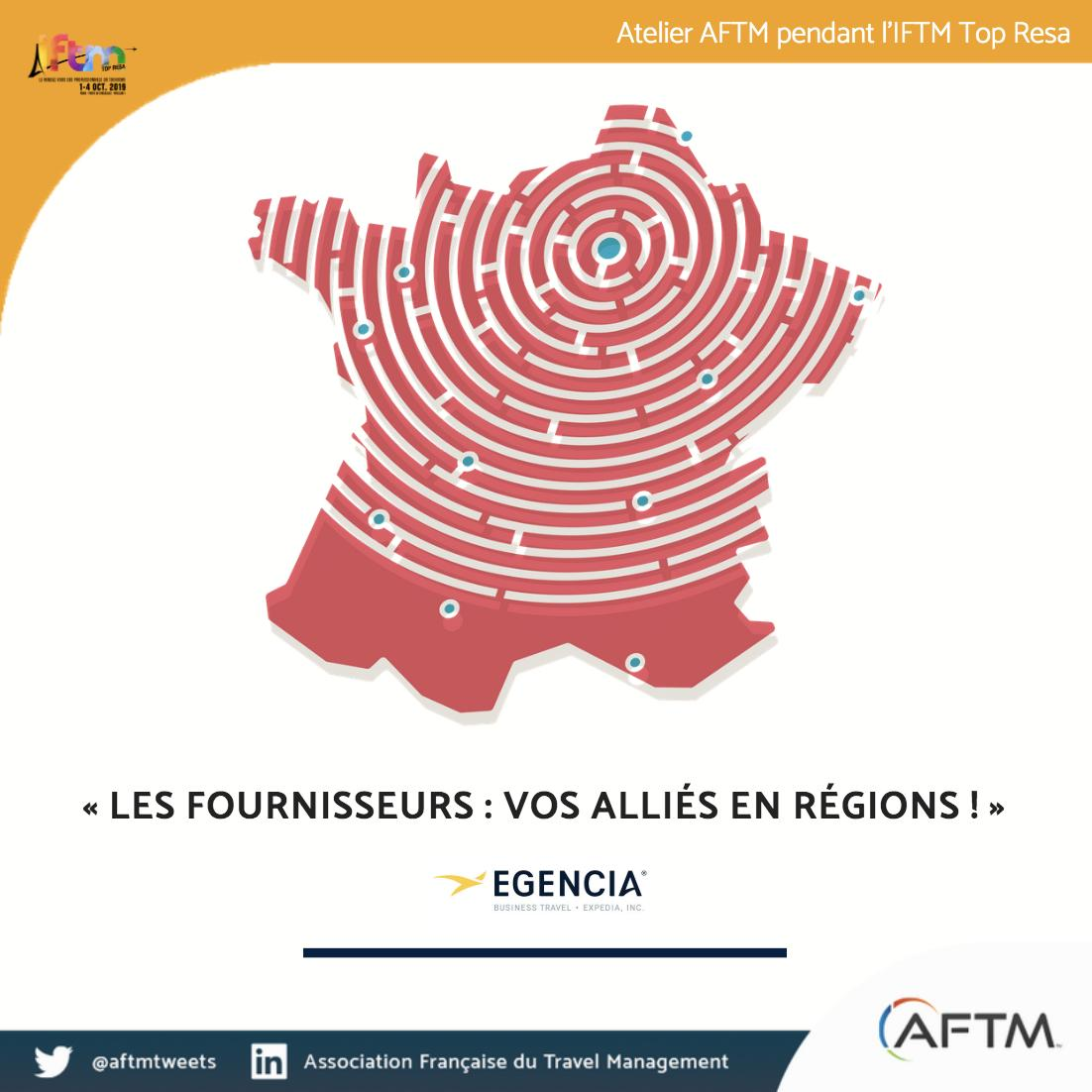 [ Atelier AFTM sur @iftmparis 📅 ] Le 2 octobre à 12h45, l'AFTM animera un atelier en partenariat avec @EgenciaFR sur le sujet suivant : « Les fournisseurs T&E : plus que des partenaires commerciaux, vos alliés en régions ! ». Inscription ici 👉 https://t.co/WBPXozXlVZ https://t.co/JL3Fw3mhhb