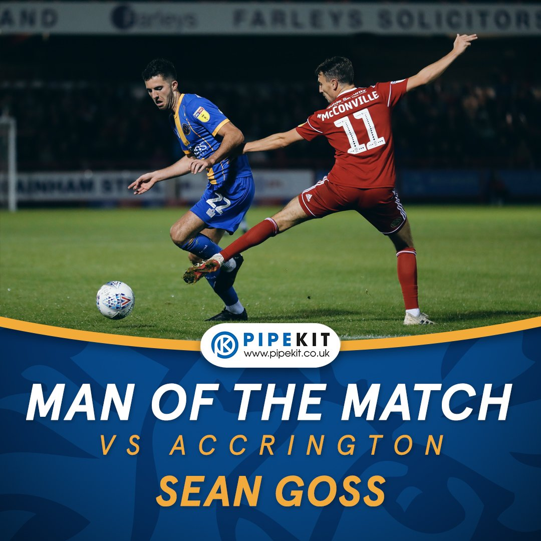 MAN OF THE MATCH: The votes are in and your @Pipekit  Man Of The Match for Tuesday night's game against Accrington is Sean Goss. Impressive performance Sean 👏 #salop https://t.co/wru6cznwNF