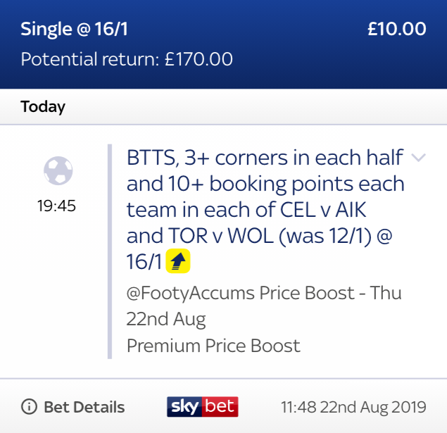Our Premium Boost for tonights Europa League action has been picked & placed! 🇪🇺🇪🇺🇪🇺 WAS: 12/1 (as of 11am 22/08) NOW: 16/1 for ALL customers Anyone want the exclusive link for this special??? 18+