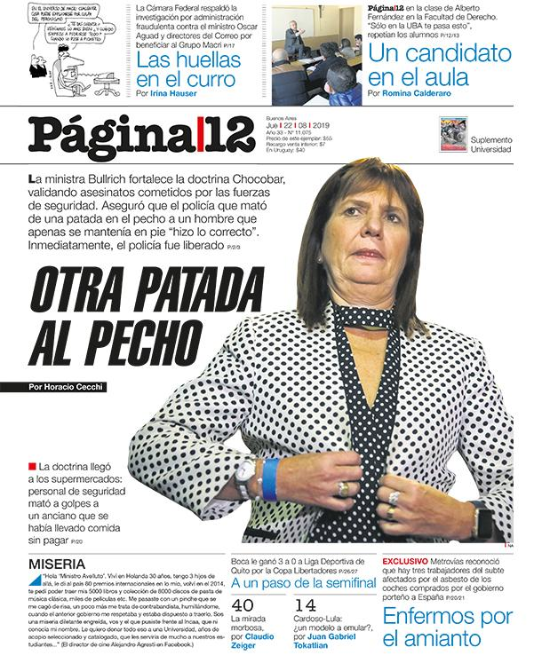 OTRA PATADA AL PECHO | @PatoBullrich fortalece la doctrina Chocobar. Aseguró que el policía que asesinó de una patada en el pecho a un hombre que apenas se mantenía en pie hizo lo correcto. Inmediatamente, el policía fue liberado | Por Horacio Cecchi [bit.ly/30qKFwp]