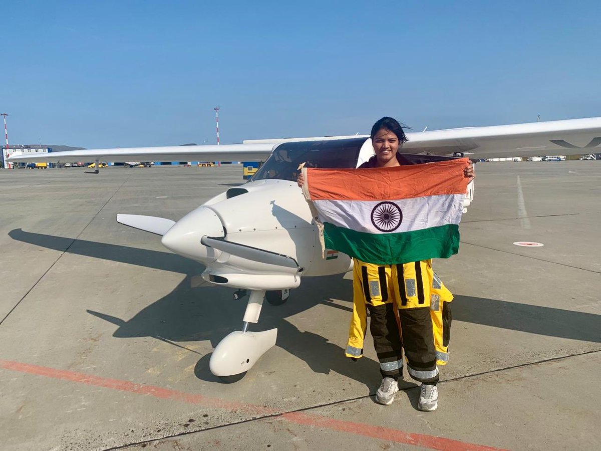 Once again woman in the forefront.. Congratulations to #AarohiPandit for becoming the WORLD'S FIRST woman pilot to fly solo across the Atlantic & Pacific Ocean.#IndianWomen #WomensTitle @supriya_sule @Jayant_R_Patil @Vidyaspeaks @PIB_India @ANI @TOIIndiaNews