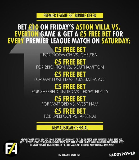 PADDY POWER BUNDLE! ☘️ Bet £10 on Aston Villa v Everton on Friday night & get a £5 FREE BET for each and EVERY Premier League match on Saturday! Simply join here >>> footy.ac/PPBundle23rd New Customer Offer T&Cs Apply 18+ begambleaware