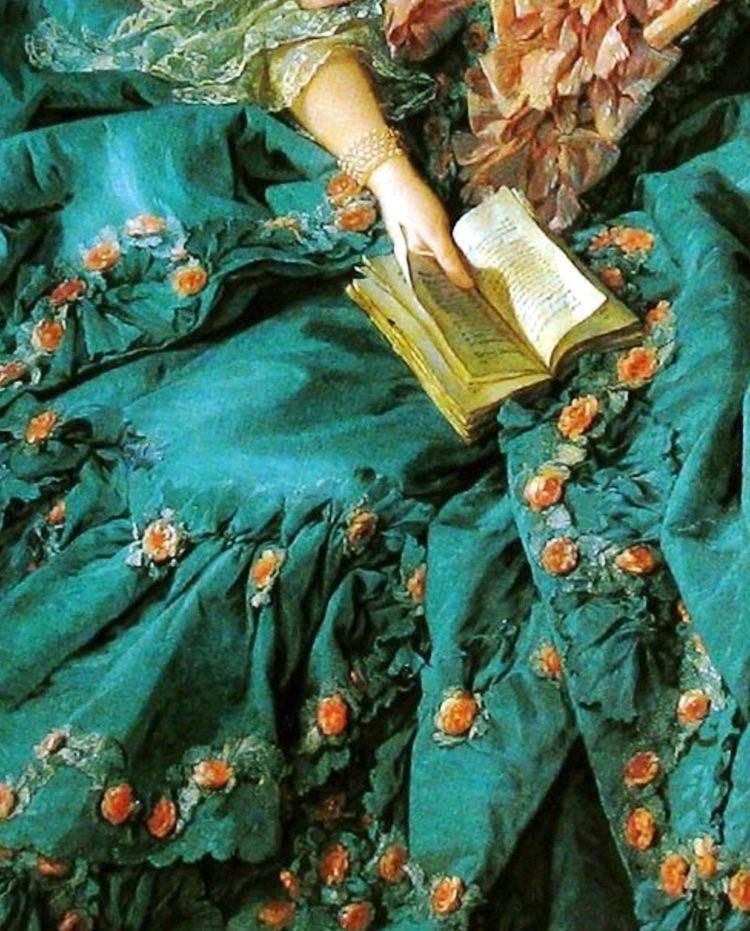 絵画の中の翠色のドレスたち