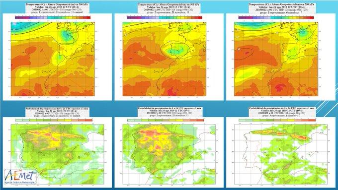 El sistema de predicción por conjuntos (EPS) del @ECMWF plantea tres escenarios con configuraciones atmosféricas diferentes (fila superior). En función de cada escenario, las probabilidades de #lluvia varían en las distintas zonas de la Península.