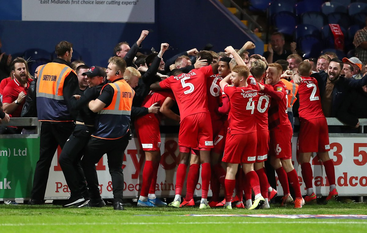 Leyton Orients manager Ross Embleton got slightly carried away with his teams celebrations during their 3-2 win against Mansfield on Tuesday... The stewards thought he was a fan and tried to grab him from celebrating with the team! 😂😂😂 📸via: @DanWestwell