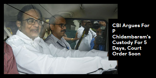 Lead story now on http://ndtv.com:Court order on CBI's request for 5-day custody of former union minister P Chidambaram in INX Media case to be pronounced soon. https://www.ndtv.com/india-news/p-chidambaram-arrest-in-inx-media-case-live-updates-totally-vindictive-says-karti-chidambaram-2088595…#NDTVLeadStory #INXMediaCase #PChidambaram