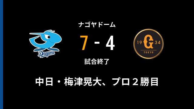 カッタガネー中日ドラゴンズの連敗は4でストップ! 梅津晃大投手、プロ2勝目です!