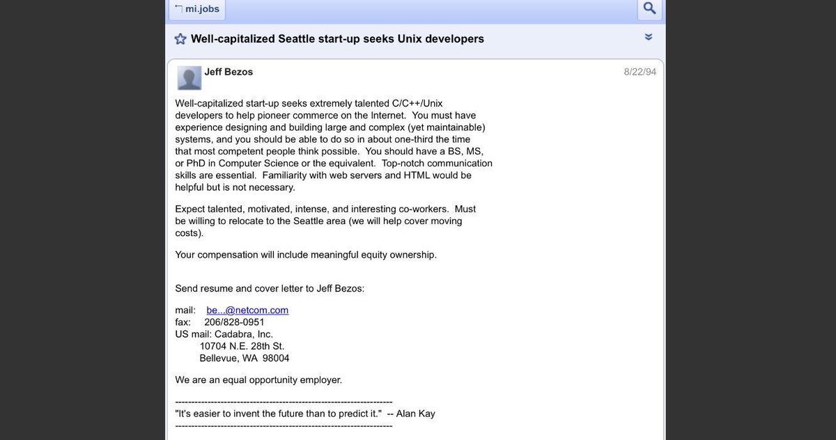 On this day in 1994: Jeff Bezos posts the first job ad for Amazon <br>http://pic.twitter.com/IE32yd7ZET