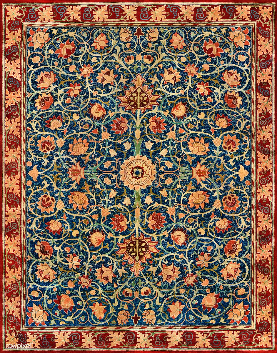 Holland Park Carpet by William Morris (1834–1896). Original from The MET Museum. Digitally enhanced by rawpixel. Download this image: https://t.co/Q88I4890HT https://t.co/WIVzZ6PNYg