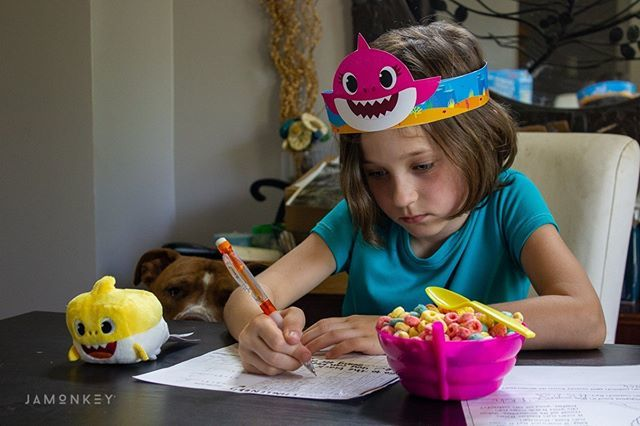 Baby Shark do-do-doo-do-do! Now the song is stuck in your head! AD There is also a new Baby Shark cereal available exclusively at @SamsClub Watch our unboxing video and learn more about this fun cereal #BabySharkatSamsClub up on the blog now! (See her little homework helper?…