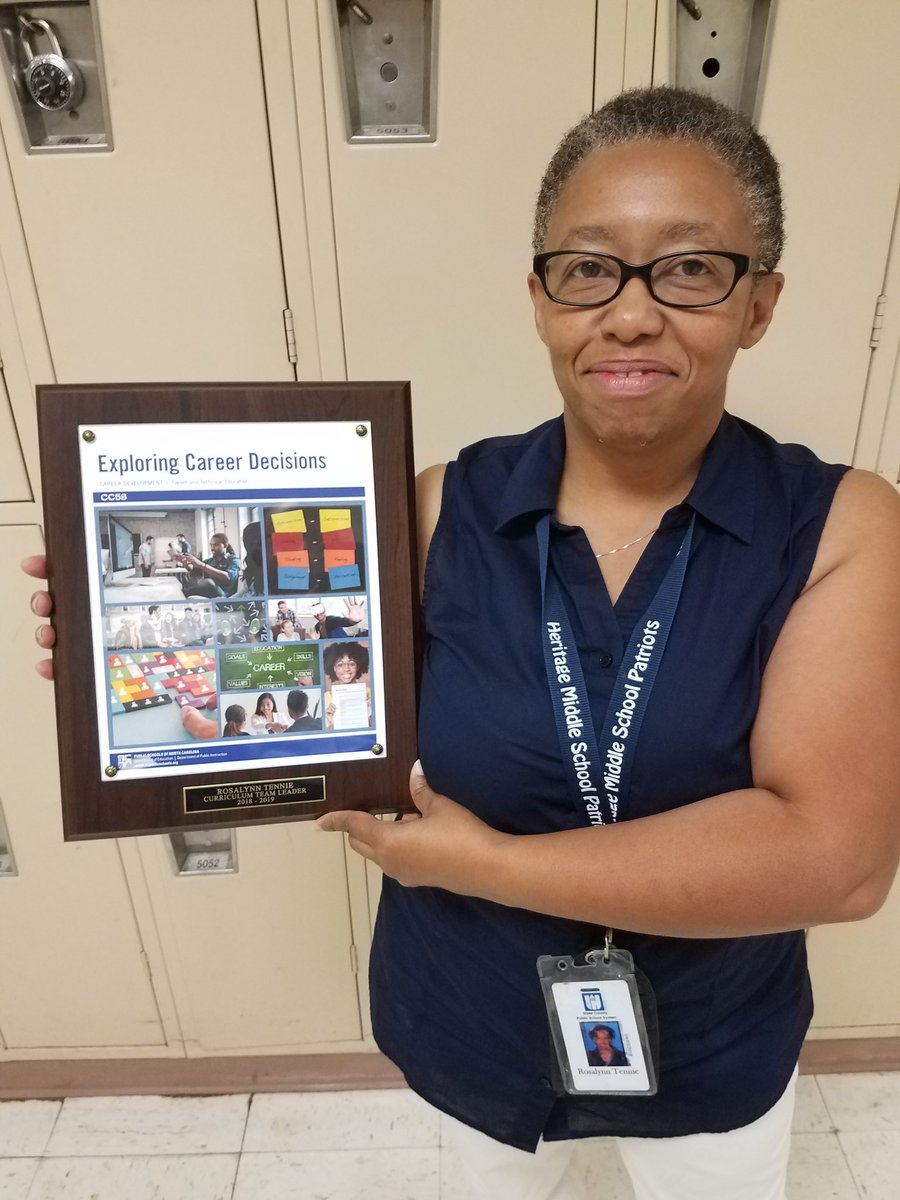 Our own @rtennie was presented with a plaque from @ncpublicschools for her work as team leader on the exploring career decisions curriculum. Proud of her work and leadership #TheHeritageWay <br>http://pic.twitter.com/yGWsOTHSJT