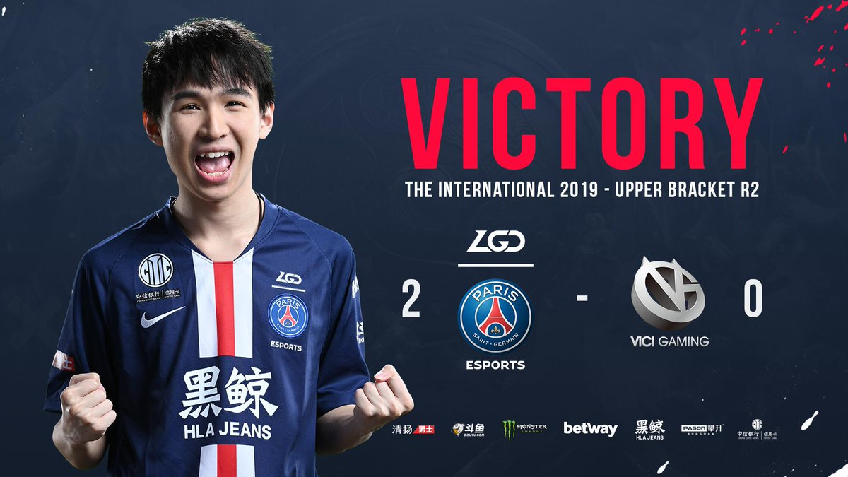 🇨🇳🤺 What a game 😲 Our PSG.LGD team secured a clean 2-0 🆚 @VICI 👏 We are now qualifed for the semi-final of the biggest #DotA2 event in the world : #TI9 🔴🔵 #ICICESTPARIS