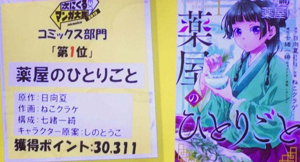 #次にくるマンガ大賞コミックス部門で『薬屋のひとりごと』が1位を頂きました✨スクショですみません…!本当にありがとうございましたヽ(;▽;)ノ