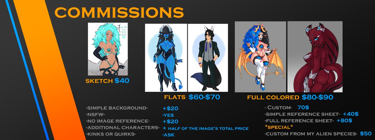 OPENING COMMISSIONS!!! only 5 slots here, 5 in DA and 5 in FA, if youre interested read this here link>> https://www.deviantart.com/dawnofthebluemoon/journal/Commissions-OPEN-810595638…  #com #commissionsopen #commission