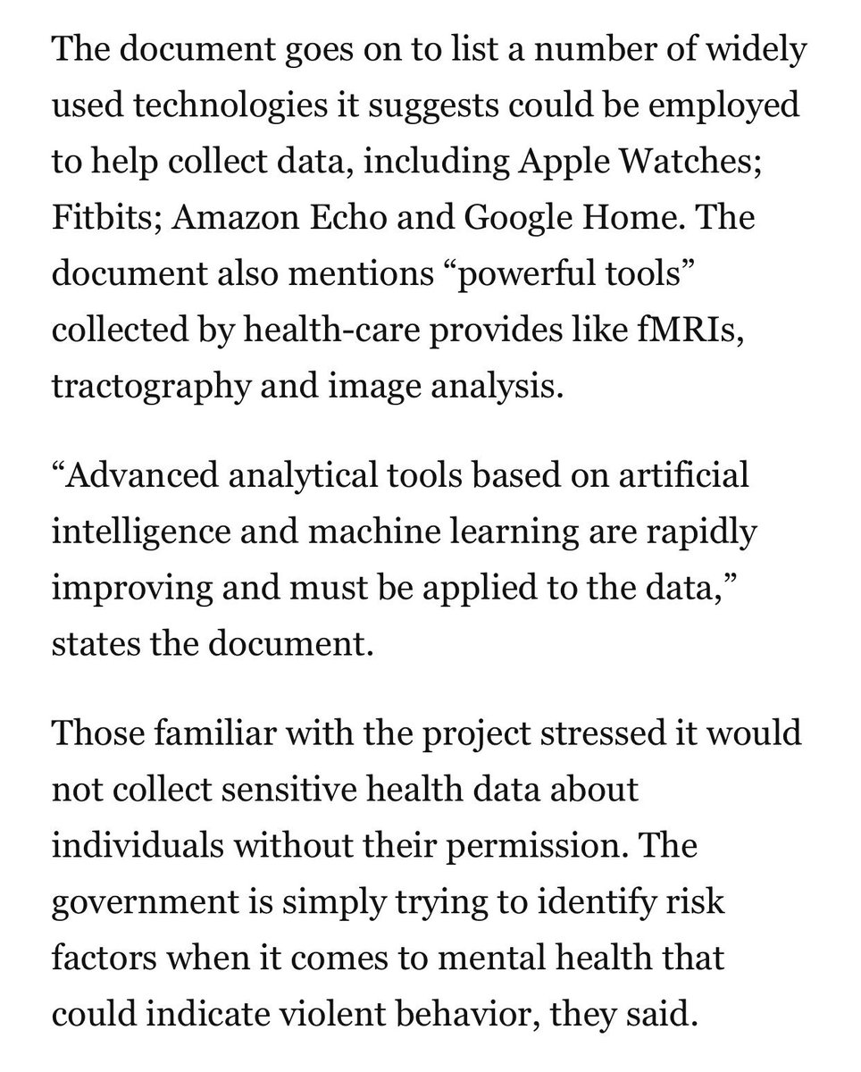 Some people think universal background checks are too much of an infringement on liberty, but what we're talking about here is researchers helping create a pathway to use consumer surveillance and AI to perpetually monitor people in their homes. washingtonpost.com/politics/2019/…