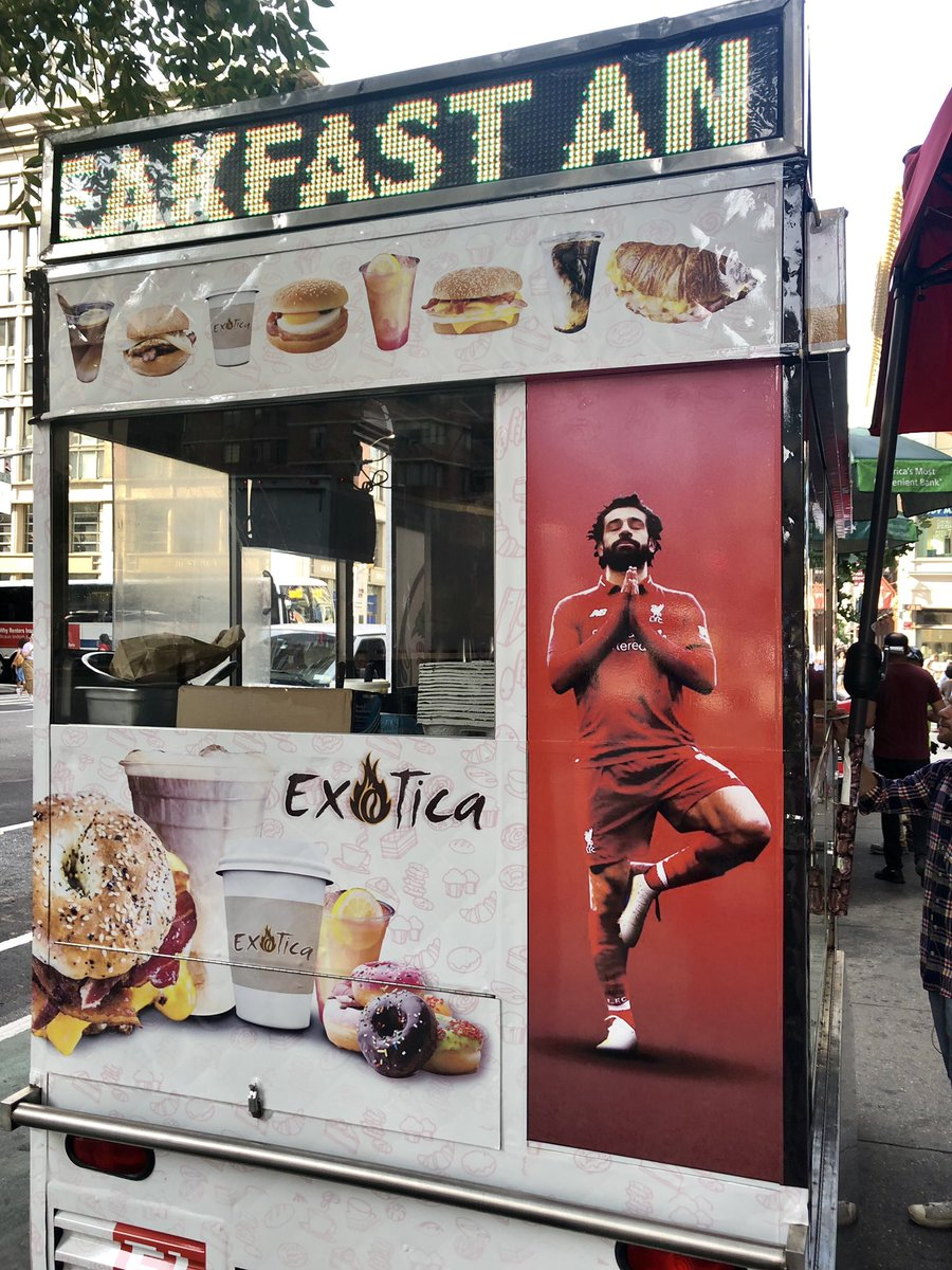 Might have to make a photo collage of all the falafel stands in New York City that have homemade shrines to Mohamed Salah (@MoSalah)<br>http://pic.twitter.com/zOcPenGrzf