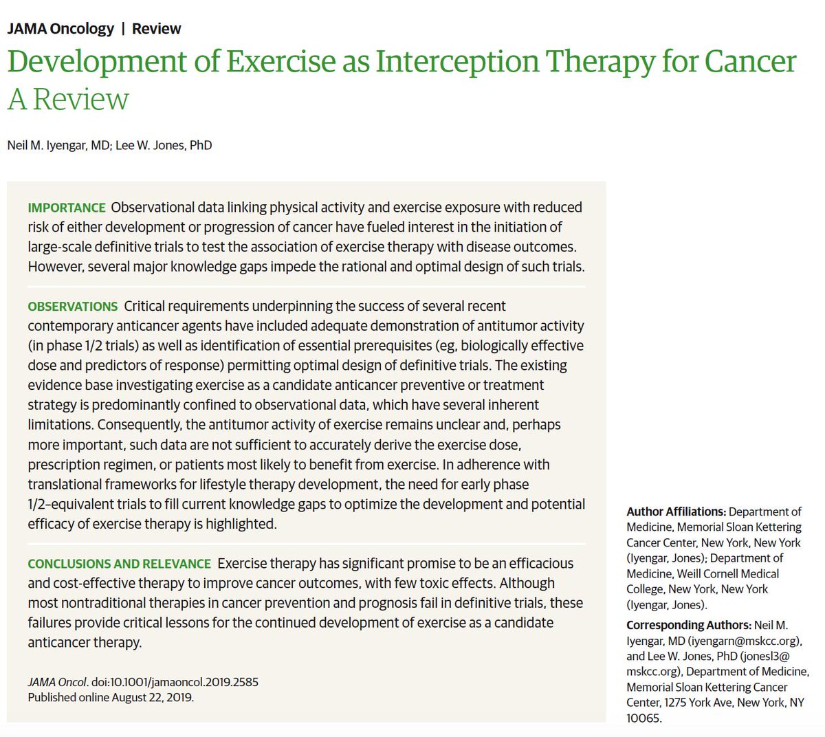 Can #exercise improve the outcomes for #cancer?  https:// jamanetwork.com/journals/jamao ncology/fullarticle/2748894  …  thoughtful review on a topic that isn't thought of enough @JAMAOnc by @sloan_kettering @Neil_Iyengar and Lee Jones<br>http://pic.twitter.com/mLYWKlsBVH