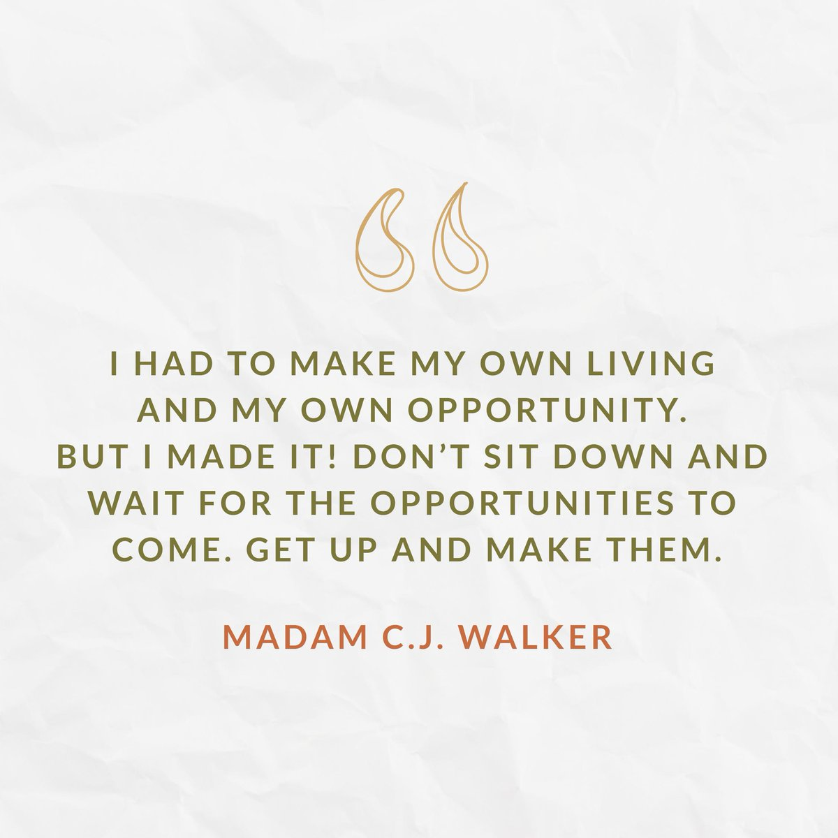 We'll leave you with this immortal wisdom from Madam C.J. Walker, who was not only the wealthiest Black businesswoman in America due to her successful line of hair care products, but also the first self-made woman millionaire in America.  #BlackWomensEqualPayDay<br>http://pic.twitter.com/94rjLsOwrM