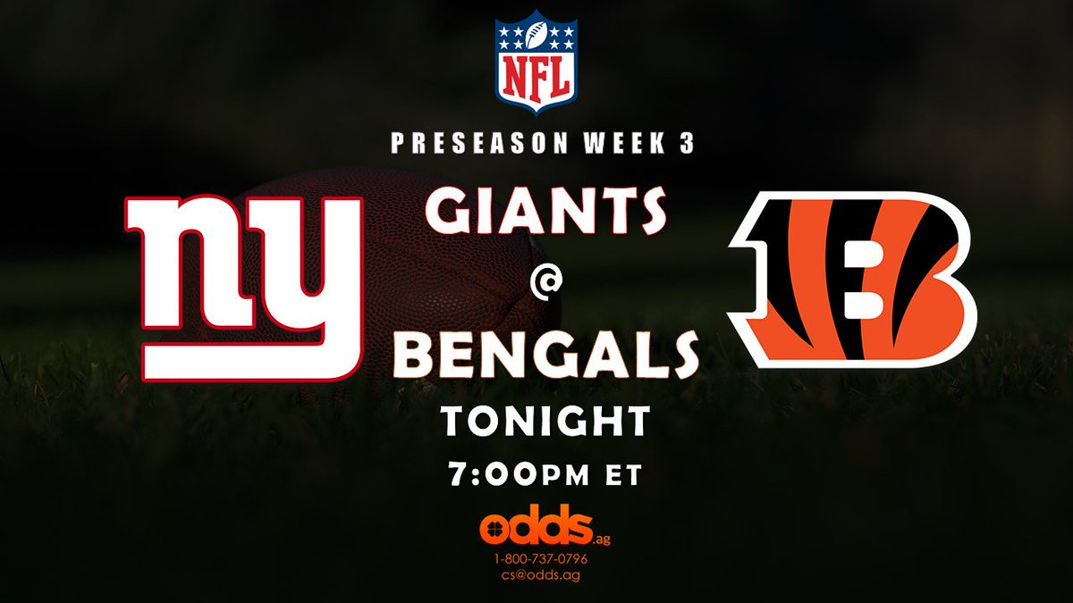 #NFL preseason week 3 has the #Giants @ #Bengals. Place a bet with @odds_ag #Sportsbook https://t.co/wnMXAQs0q6