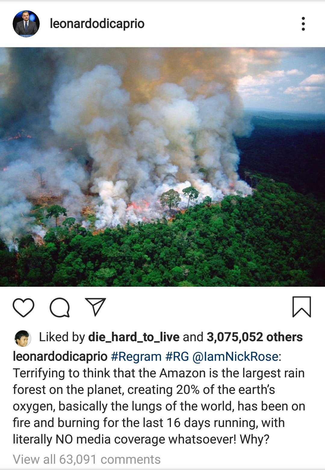 leonardo dicaprio instagram amazon